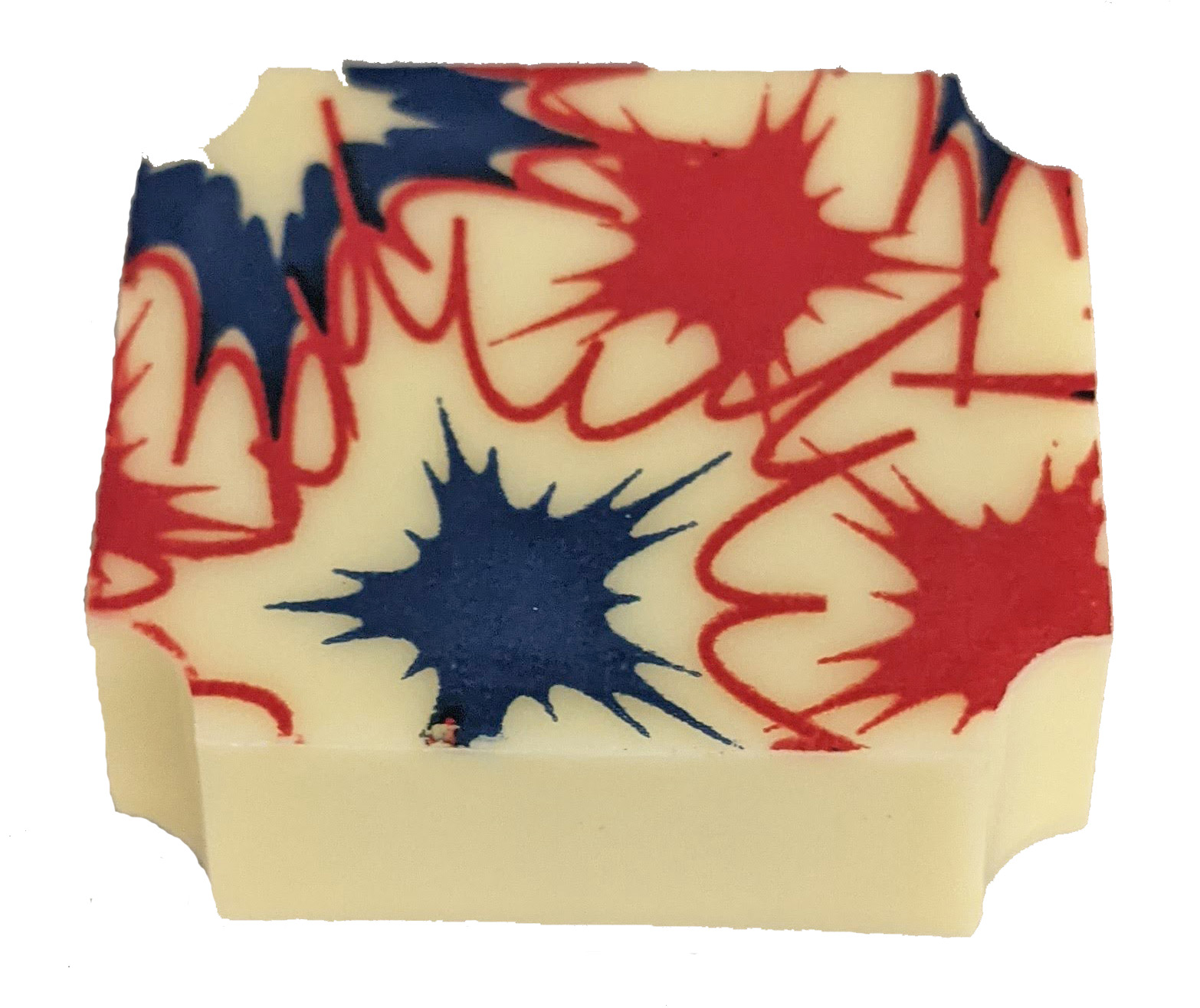 White rectangle chocolate with red and blue design