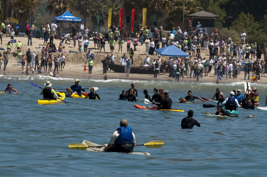 Hundreds of Surfers, Kayakers & Ocean-lovers say �NO!� on Measure J at the Paddle Out Against Paredon in Carpinteria