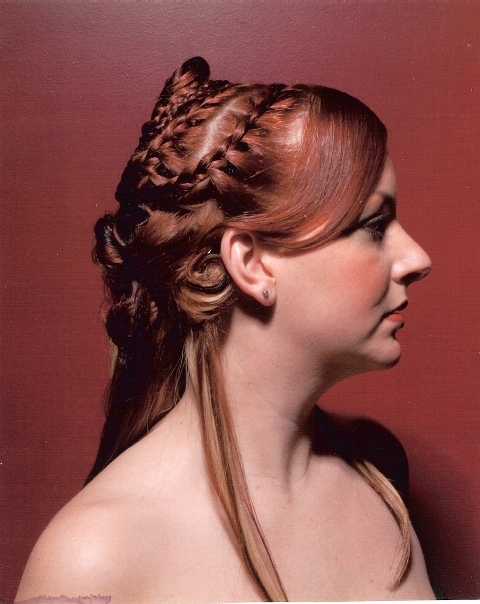 Braided red hair