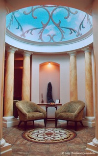 Trompe l'oeil dome and faux marble columns