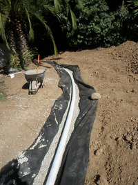 infiltration gallery drainage swale installing
