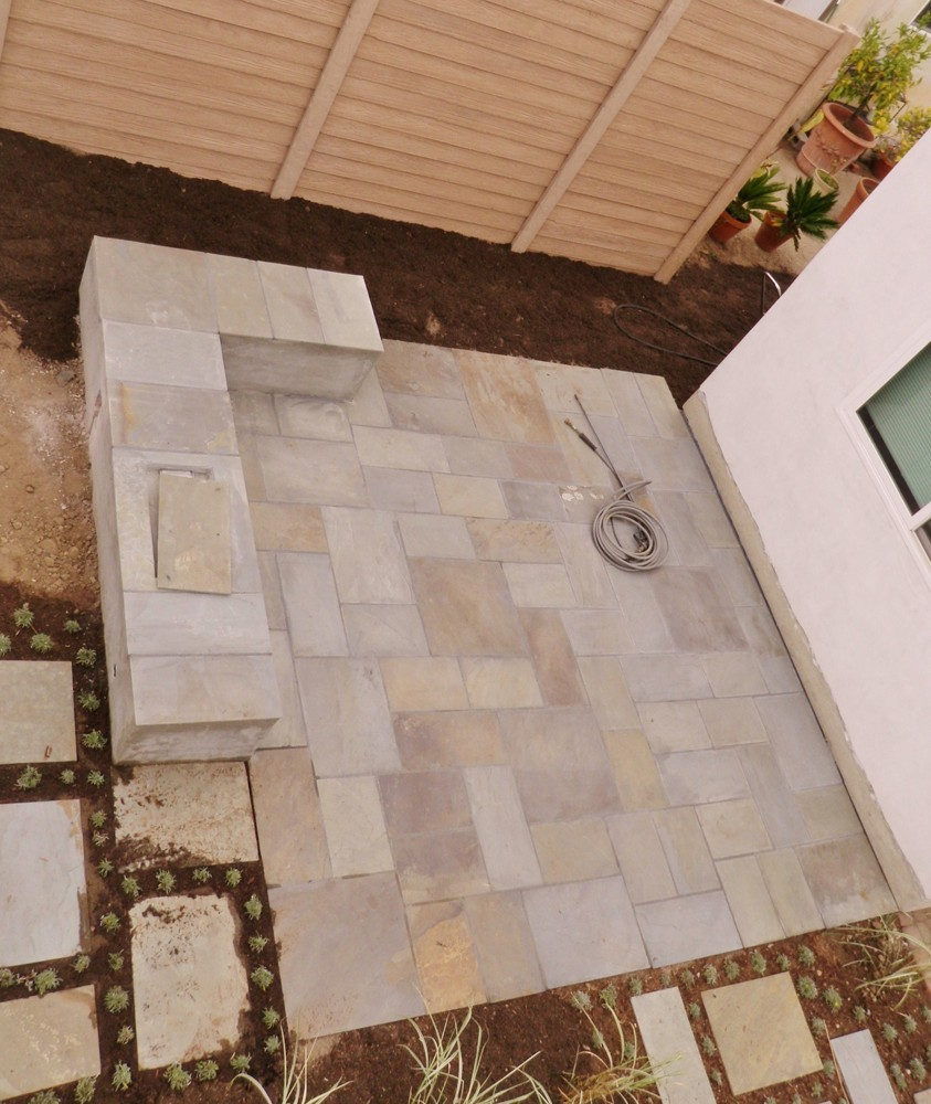 Ashlar Flagstone Patio Hidden Fire Pit Seating Bench