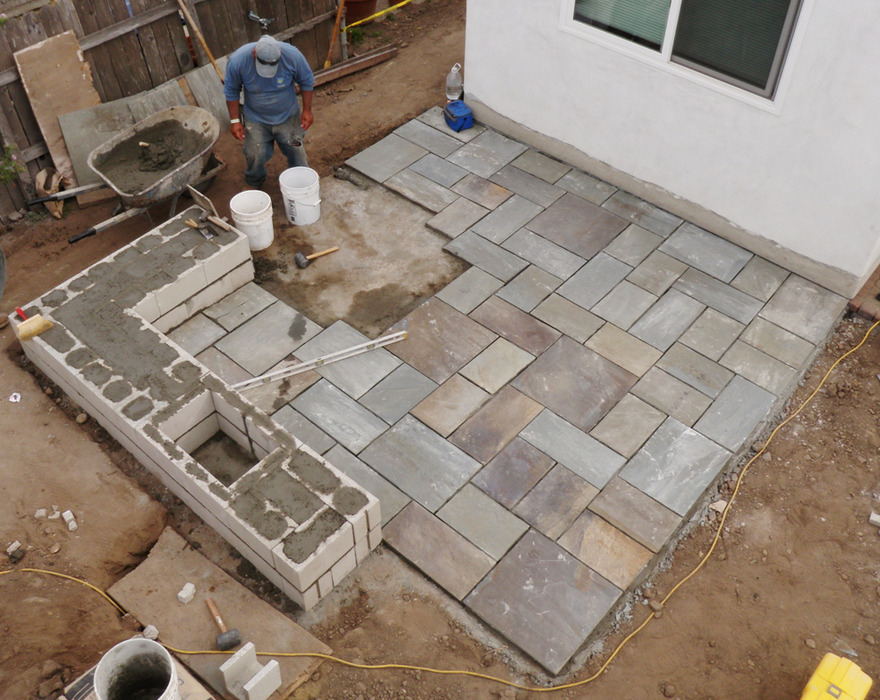 Building Ashlar Bluestone Patio Fire pit