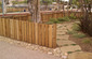 Flagstone and Sandstone Cobblestone Redwood Fence