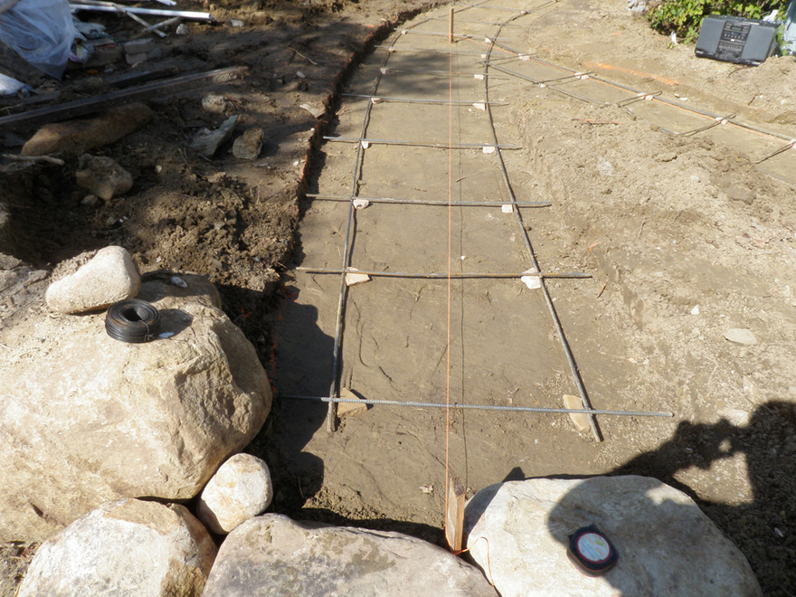 New Flagstone Path During Construction Rebar Base