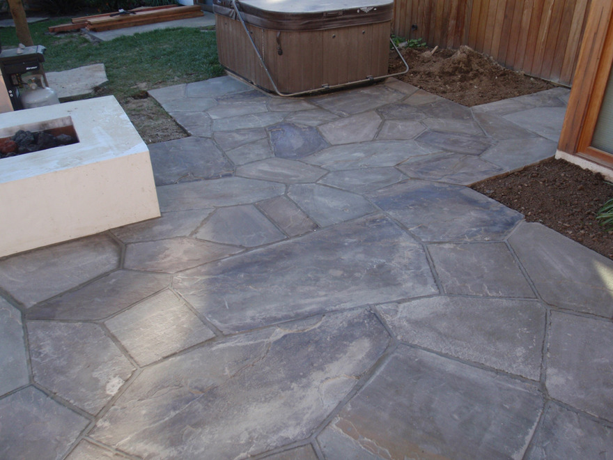 Tight Flagstone on Slab Mortared Joints Cut