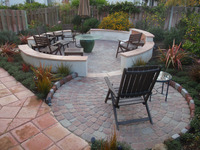 Paver Double Mandala Fire Pit Flagstone Coping Stucco Wall Seating Bench