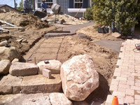 Flagstone Path Stone Stairs Paver Driveway During Installation Pouring Slab