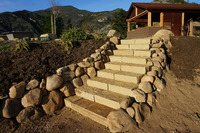 Thick Flagstone Stairs Stone Wing Walls Planter Bed Retention Path