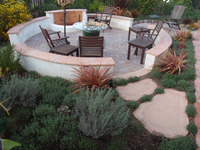 Intimate Hardscape Paver Circle Stone Seating Benches Flagstone
