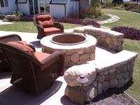 Outdoor Living Room Sandstone Fireplace LED Lights