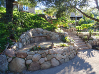 Sandstone Walls Slope Bench Flagstone Stairs Planting