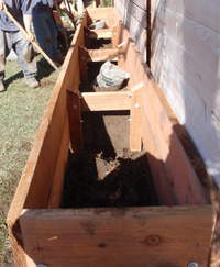 building 20 foot long veggie raised planter box detail