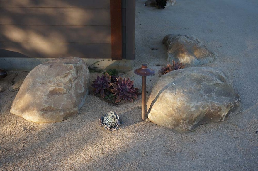 succulent DG xeriscape planting LED path light