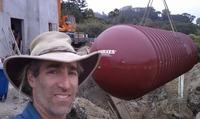 30,000 gallon underground rainwater tank crane installation