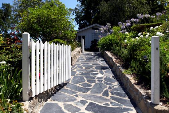 Garden slate entry to Eucalyptus