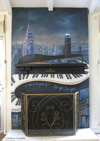New York, New York Fireplace mural 1