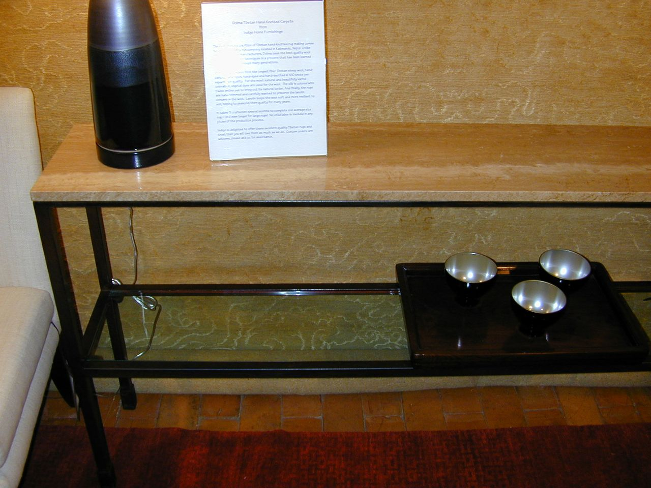 Custom Iron Glass and Stone Console