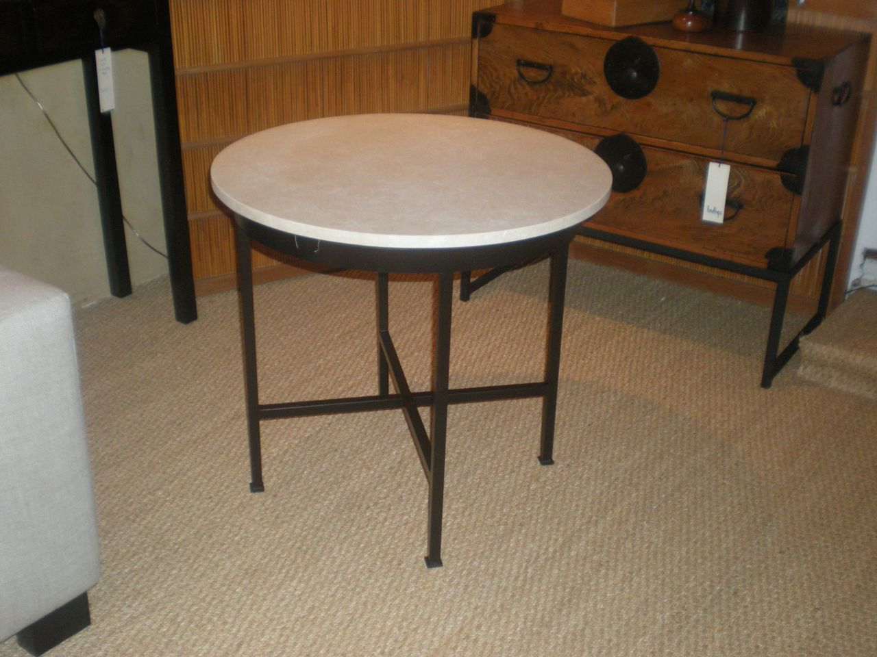 Custom Iron and Stone End Table