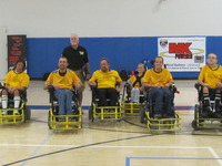 Team photo of the Rollin' Rebels Power Soccer team