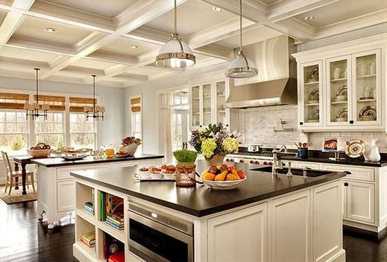 Kitchen Wall And Island Design Ideas ~ Single wall with double island kitchen design