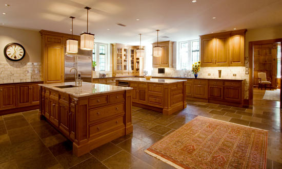 The l shape with double island kitchen for Dual island kitchen designs