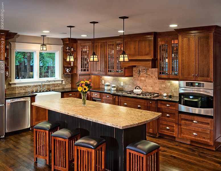 A Santa Barbara Craftsman Kitchen with Center Island
