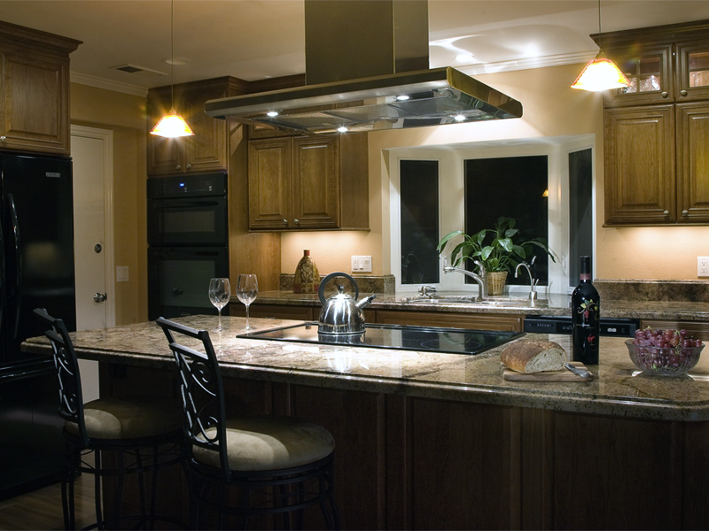 A Santa Barbara Traditional Cherry Kitchen and Center Island