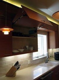 Contemporary kitchen Caesarstsone waterfall