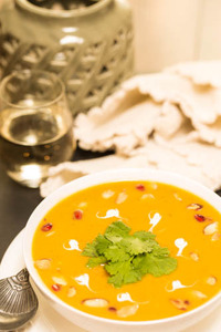 Roasted Butternut Squash and Sweet Potato Curry Soup