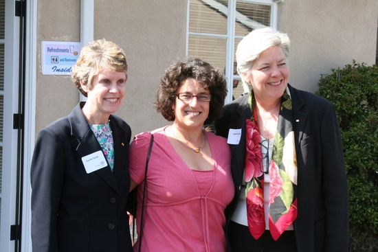 Santa Barbara Mayor Helene Schneider with MB&T President Janet Garufis and Marketing Vice President Carolyn Tulloh