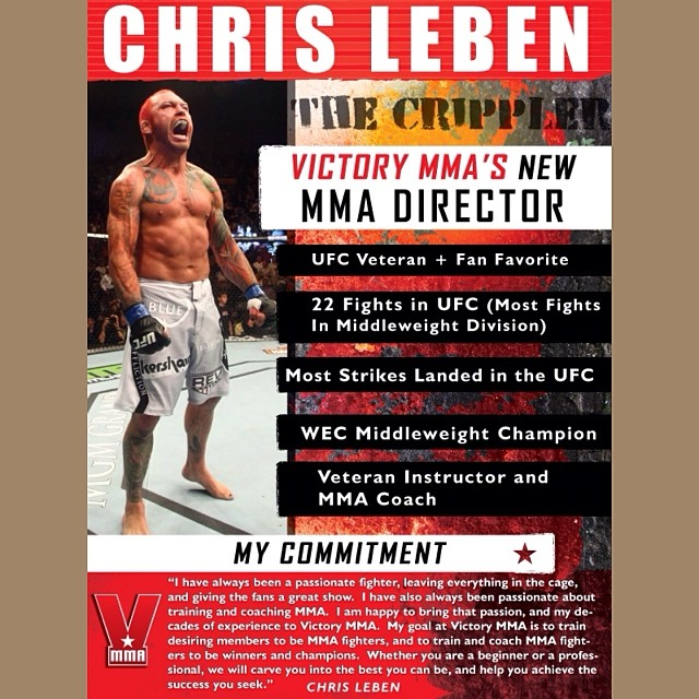 UFC great and fan favorite Chris Leben joins the Victory MMA Team as full time MMA Coach and Trainer