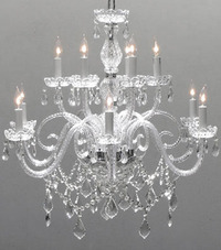 "Large Glass Chandelier 27"" H x 32"" W"