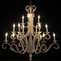 "Large White Beaded Chandelier 39"" H x 44"" W"