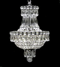 "Small Crystal Empire Chandelier 15"" H x 11"" W"