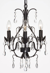 "Small Wrought Iron Chandelier B 14.25"" H x 11"" W"