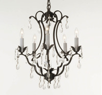 "Small Wrought Iron Chandelier C 16"" H x 22.5"" W"