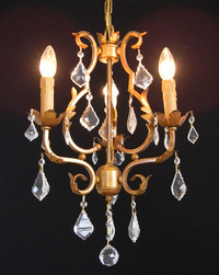 "Small Gold Chandelier 20"" H x 14"" W"