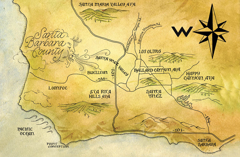 Santa Barbara County Terroir - Jamie Slone Wines Santa Barbara on sonoma winery map, lake mendocino county wine map, georgia wineries map, az wineries map, nh wineries map, healdsburg wineries map, sutter creek wineries map, santa rita hills wineries map, nebraska wineries map, indiana wineries map, umpqua valley wineries map, leelanau peninsula wineries map, denver wineries map, paso robles wineries map, california wineries map, austin wineries map, south coast winery map, atlas peak wineries map, fresno wineries map, lompoc wine trail map,