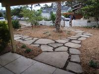 Old concrete relaid into new urbanite pathway