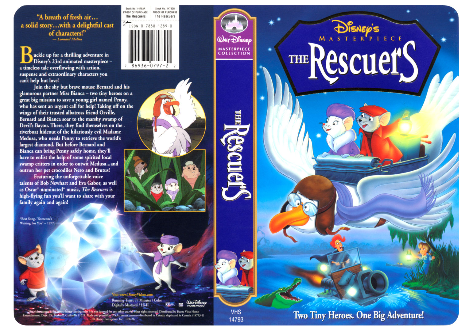 Disney�s Masterpiece The Rescuers - Walt Disney Home Video hired me to design the cover and Illustrate it. Another real classic!