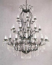 "Wrought Iron Chandelier 52"" H x 60"" W"