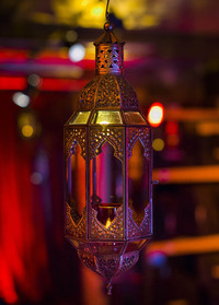 Large Silver Moroccan Candle Lantern