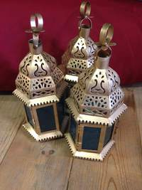 Small Gold Moroccan Candle Lantern