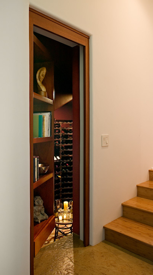 Bookcase to hidden wine cellar