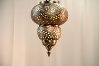"Silver Moroccan Hanging Lamp 20"" H x 15"" W"