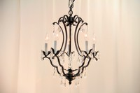 "Small Wrought Iron Chandelier 18"" H x 16"" W"