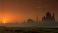 Taj Mahal sunrise along the River Yamuna