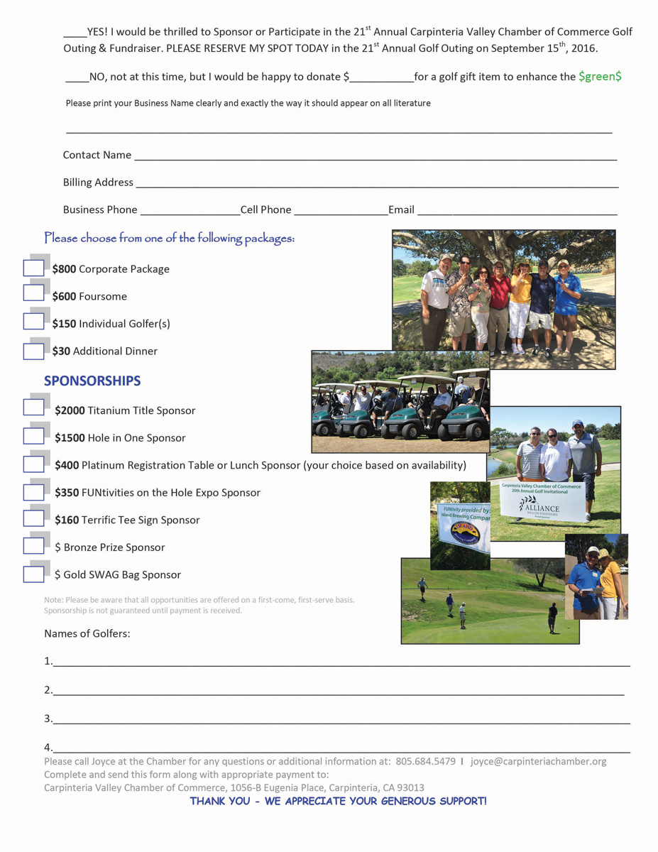 2016 Golf Tournament Sponsorship page 2