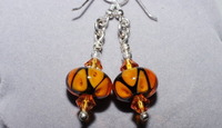 Amber Glow Lampwork Glass Beaded Earrings with Swarovski Crystals